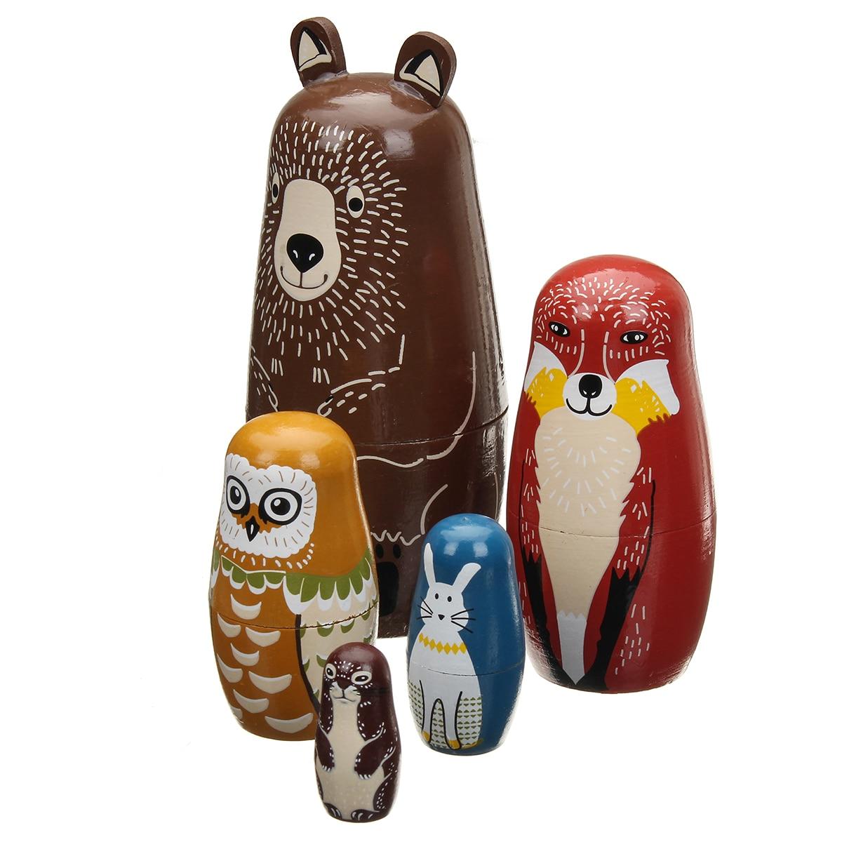 1Set Wooden Russian Dolls Kids Toy Gifts Animals Santa Claus Jesus Girl DIY Unpainted Blank Embryo Nesting Matryoshka Toy Gift