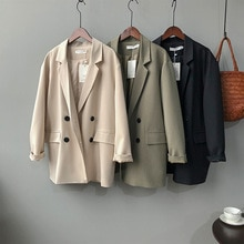 2021 Fashion Women Office Lady Double Breasted Vintage Blazer Coat Female Notched Collar Long Sleeve