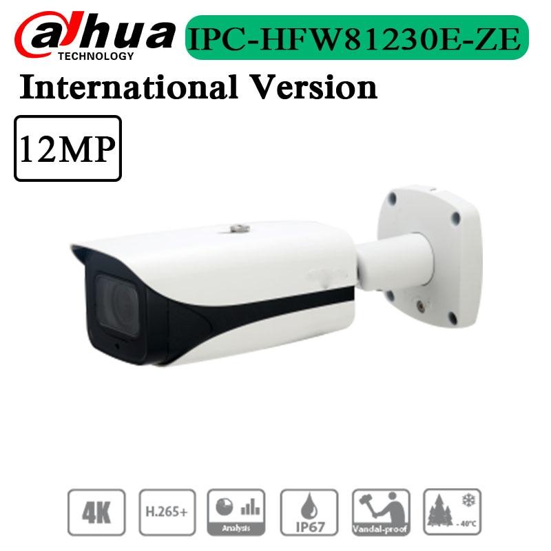 Frete grátis original versão em inglês 12mp ir bala câmera de rede ao ar livre suporte poe + IPC-HFW81230E-ZE