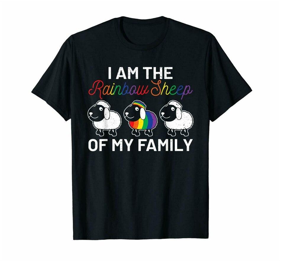 Yo soy el arco iris ovejas de mi familia divertida Lgbt orgullo mes negro camiseta S-3Xl de moda Cool camiseta
