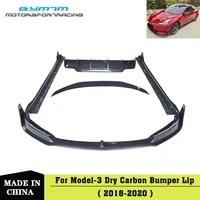 car accessories bumper real dry carbon fiber front lip rear diffuser spoiler side skirt for tesla model 3