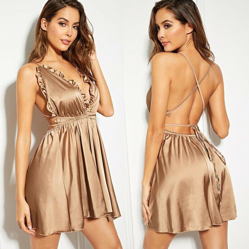 Women Sexy Ruffles Satin Silk Sleepwear V-neck Lingerie Nightdress Nightgown Lady Pajamas S-XL