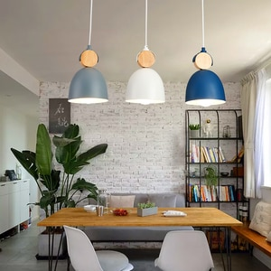 Nordic Personality Restaurant LED Pendant Wooden Iron Minimalist Bar Lighting for Master Bedroom Bedside Kitchen Dining Table