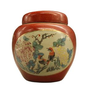 Chinese Old Porcelain Red Glazed Flower And Bird Cover Cans Porcelain Jar