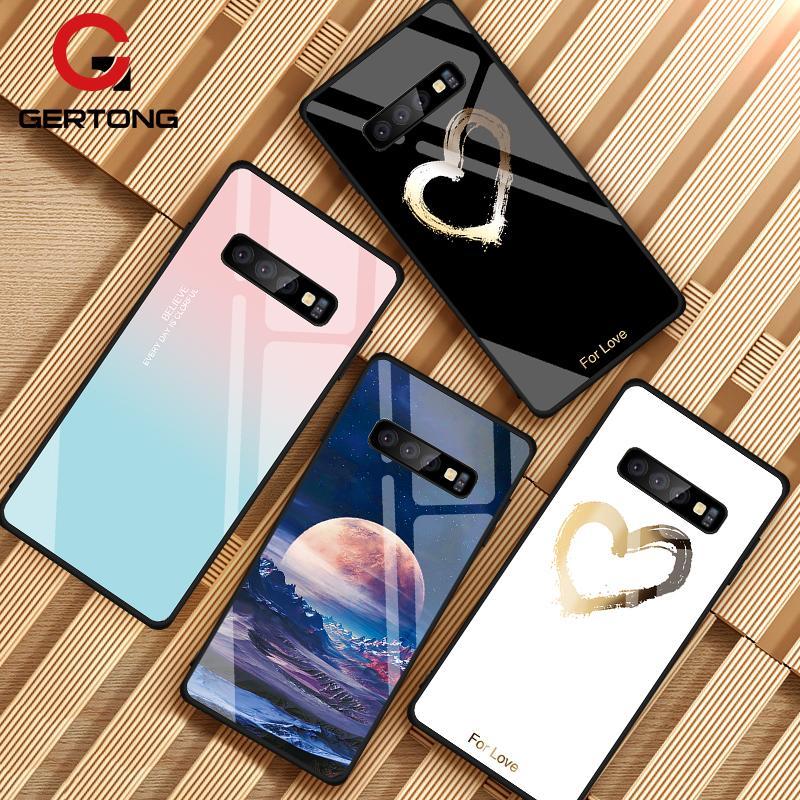 Gehärtetem Glas Fall Für Samsung Galaxy S10 S9 S8 Plus S10e A7 2018 Hinweis 9 8 10 Pro A50 Stoßfest abdeckung Stern Raum Gradienten Fall
