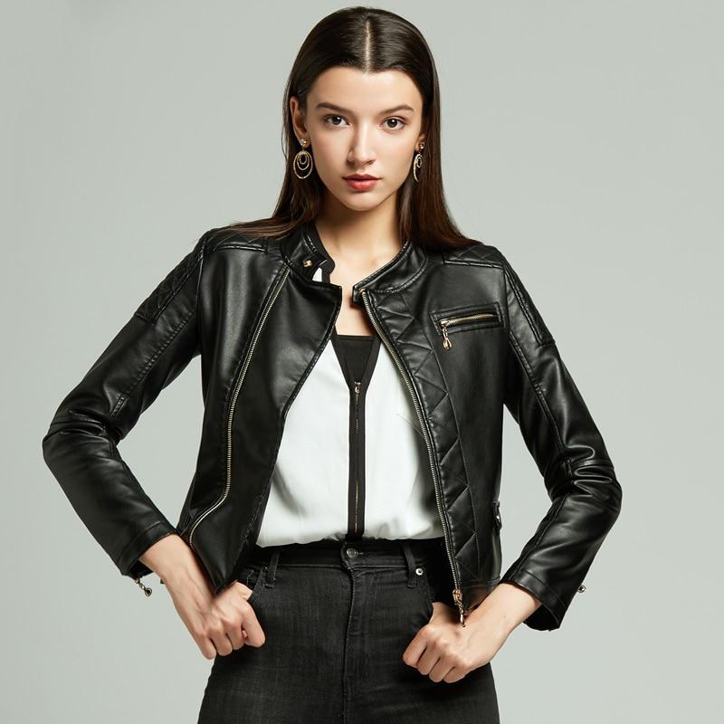 Женская куртка из искусственной кожи, Женская байкерская куртка большого размера, мотоциклетная куртка, черное, розовое, желтое, красное па...