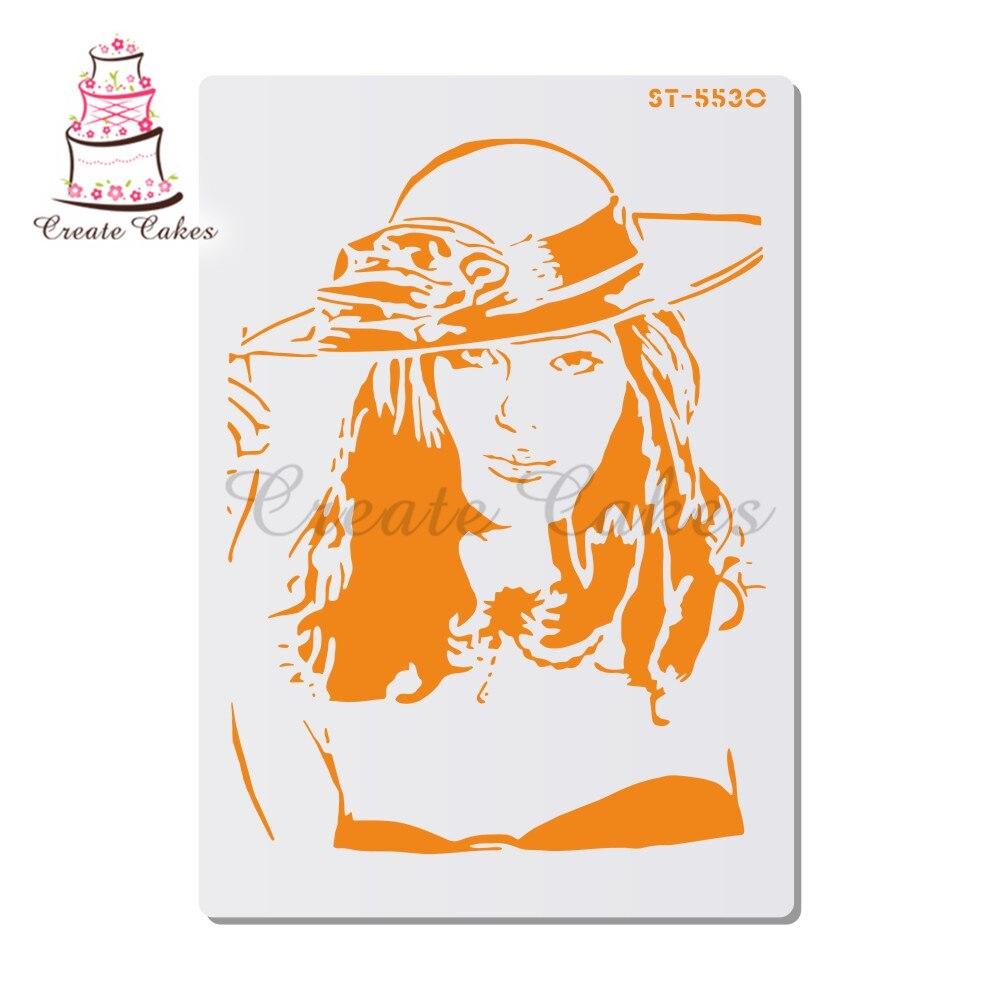 Plantilla de chica delgada para paredes pintura sello de álbum de recortes álbum grabado decorativo DIY artesanía Tarjeta de papel flor plantilla