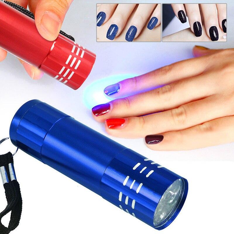 1pc UV Led Light UV LED Lamp Nail Dryer For Gel Nails 9 LED Flashlight Portability Nail Dryer Machine Nail Art Tools UV Light