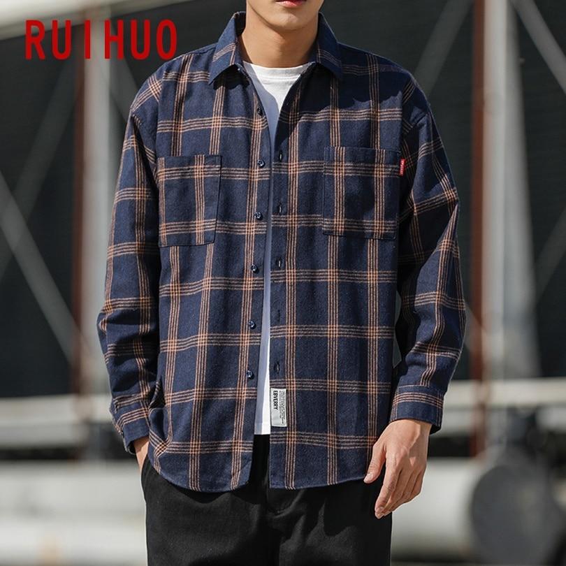 RUIHUO 2020 New Spring Long Sleeve Shirt Men Slim Fit Wool Casual Plaid Shirts Men Clothing Fashion Brand Plus Size M-5XL