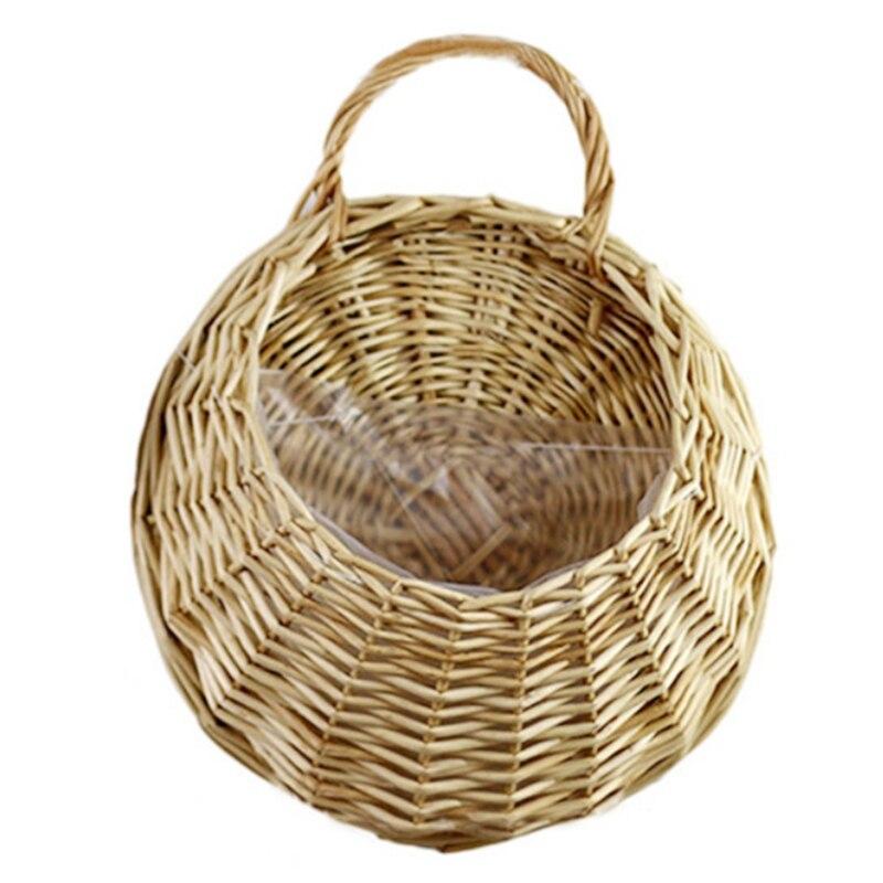 Cesta colgante de mimbre hecha a mano, cesta colgante de almacenamiento de...