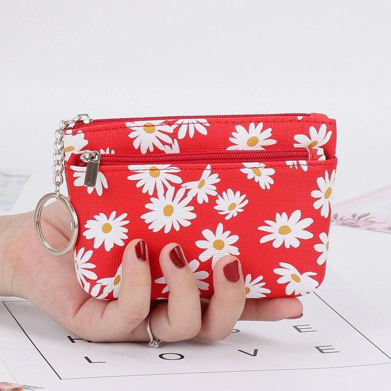 Модный женский кошелек с цветочным принтом, мини бумажники, клатч, женские сумочки для денег, кредитницы, клатчи на молнии, сменный кошелек