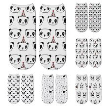 New 3D Printed Cotton Short Socks For Women Cute Mini Animal Panda Bear Low Ankle Socks Funny Happy Unisex Socks For Girl Gift