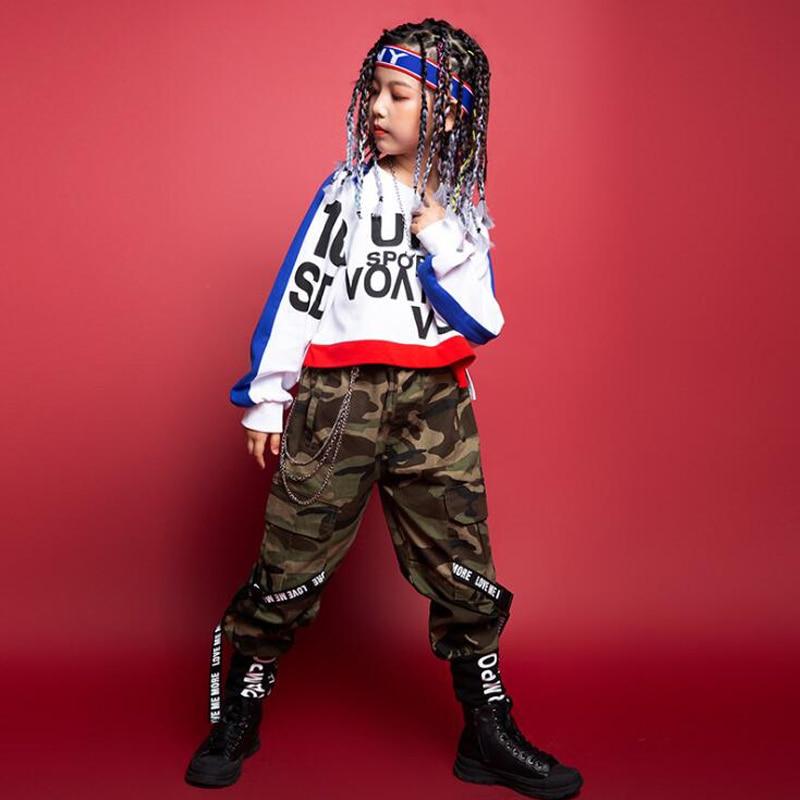 أطفال كول الهيب هوب الملابس المحاصيل البلوز المرحلة ارتداء كامو البضائع الرقص السراويل للفتيات الفتيان قاعة ملابس رقص وتتسابق