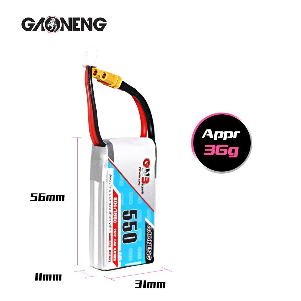 4 Uds Gaoneng GNB 550mAh 2 7,4 V 80C/160C HV batería Lipo XT30 JST PH2 enchufe para iFlight CineBee Betafpv Cine Whoop Beta FPV Drone