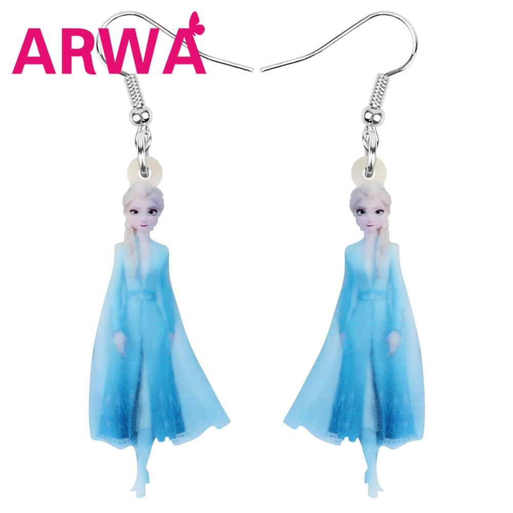 ARWA Acrylic Blue Disney Frozen Elsa Princess Earrings Long Cartoon Dangle Drop Jewelry For Women Girl Kid Charm Gift Decoration