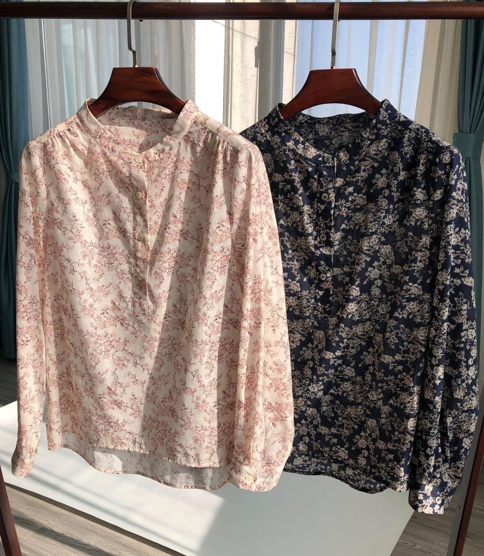 أوائل الخريف المرأة بلوزة قطن خمر الأزهار المطبوعة س الرقبة أزرار طويلة الأكمام قميص جديد السيدات عطلة نمط