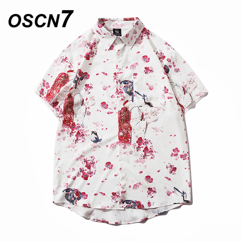 Camisa de manga corta con estampado Casual OSCN7 para hombre, calle 2020 hawaiana, playa, gran tamaño, moda femenina, Harujuku, camisas para hombres 308
