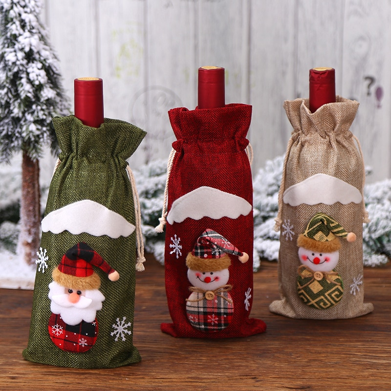 Santa Claus wine bottle cover christmas decorations for home wine bag новый год 2020 новогодние носки articulos de navidad 10pcs