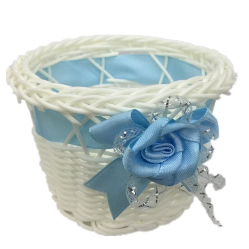 Mini mimbre tejido de plástico de la flor cesta de la flor de canasta de flores tejida flor artificial olla