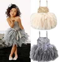 aa 2 7y teenage clothing girl dress summer princess wedding pageant party dress sequins sleeveless lace tulle bowknot dresses