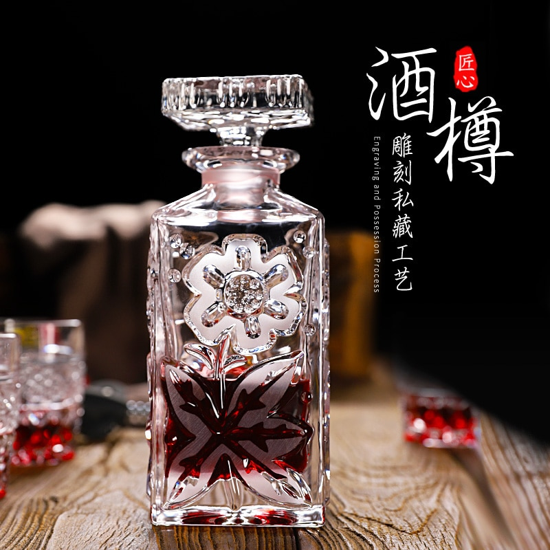 Leadless crystal with lid wine maker creative glass wine bottle foreign wine pot wine set sealed red wine bottle bubble wine pot