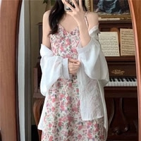 large daisy dress with suspenders new summer floral dress 2021 sweet retro slim chiffon dress with suspenders