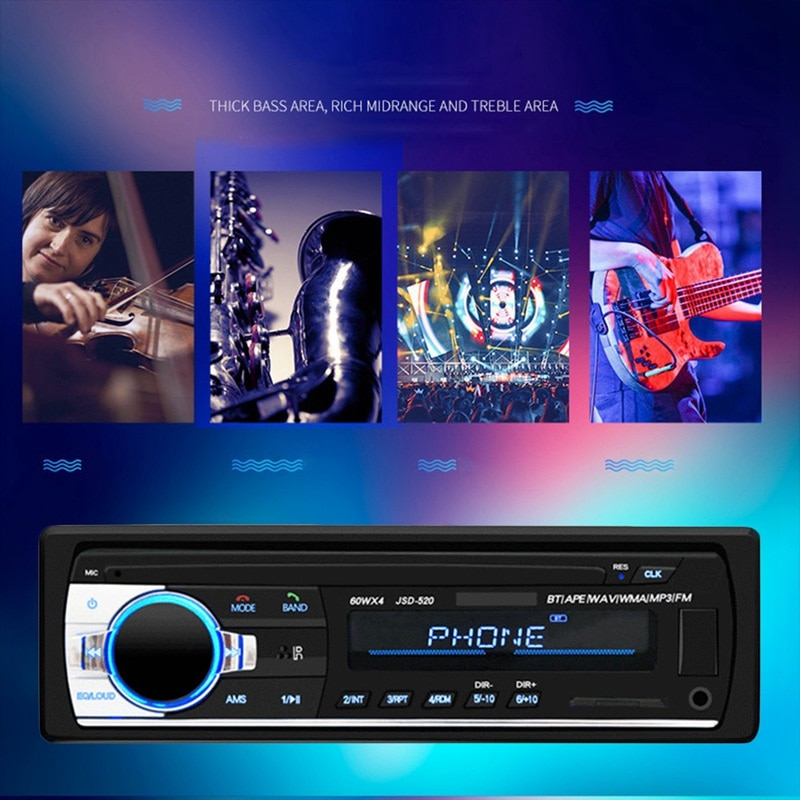 For Car Electronics DVD CD Support MP3 WMA WAV Car Radio Autoradio Aux Input Receiver Bluetooth Stereo Audio Player Multimedia