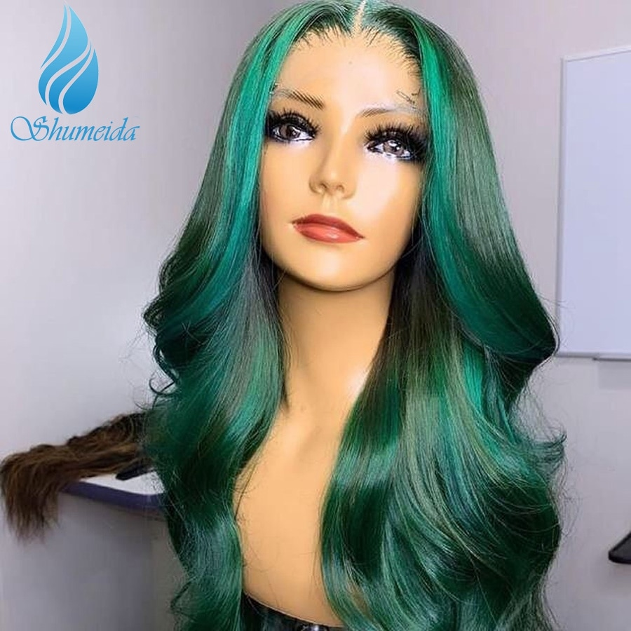 Shumeida Highlight Green Color 13*4 Lace Front Wigs Peruvian Remy Human Hair Body Wave Glueless 4*4 Lace Wig with Baby Hair