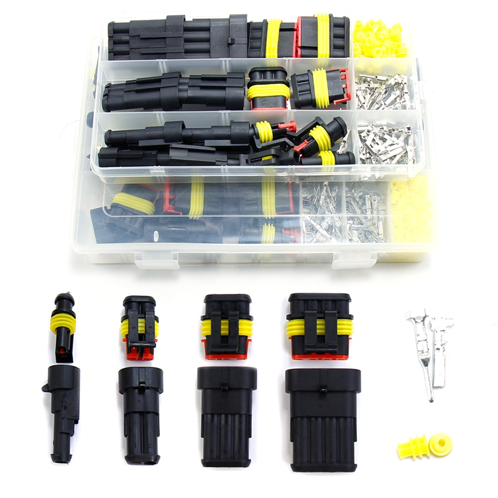 hzy 2 5sets kit 2 pin 1 2 3 4 5 6 pins way amp super seal waterproof electrical wire connector plug for car waterproof connector Auto Motorcycle Waterproof Electrical Connector In Car Wiring Solder Wire Plug Connectors Kit Automotive 2 3 4 6 Pin Seal Socket