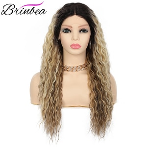 """Brinbea 24 Inches Synthetic For Women with Baby Hair Loose Wave Curly 4"""" Middle Part Japan-Made Frontal Swiss Lace Front Wigs"""