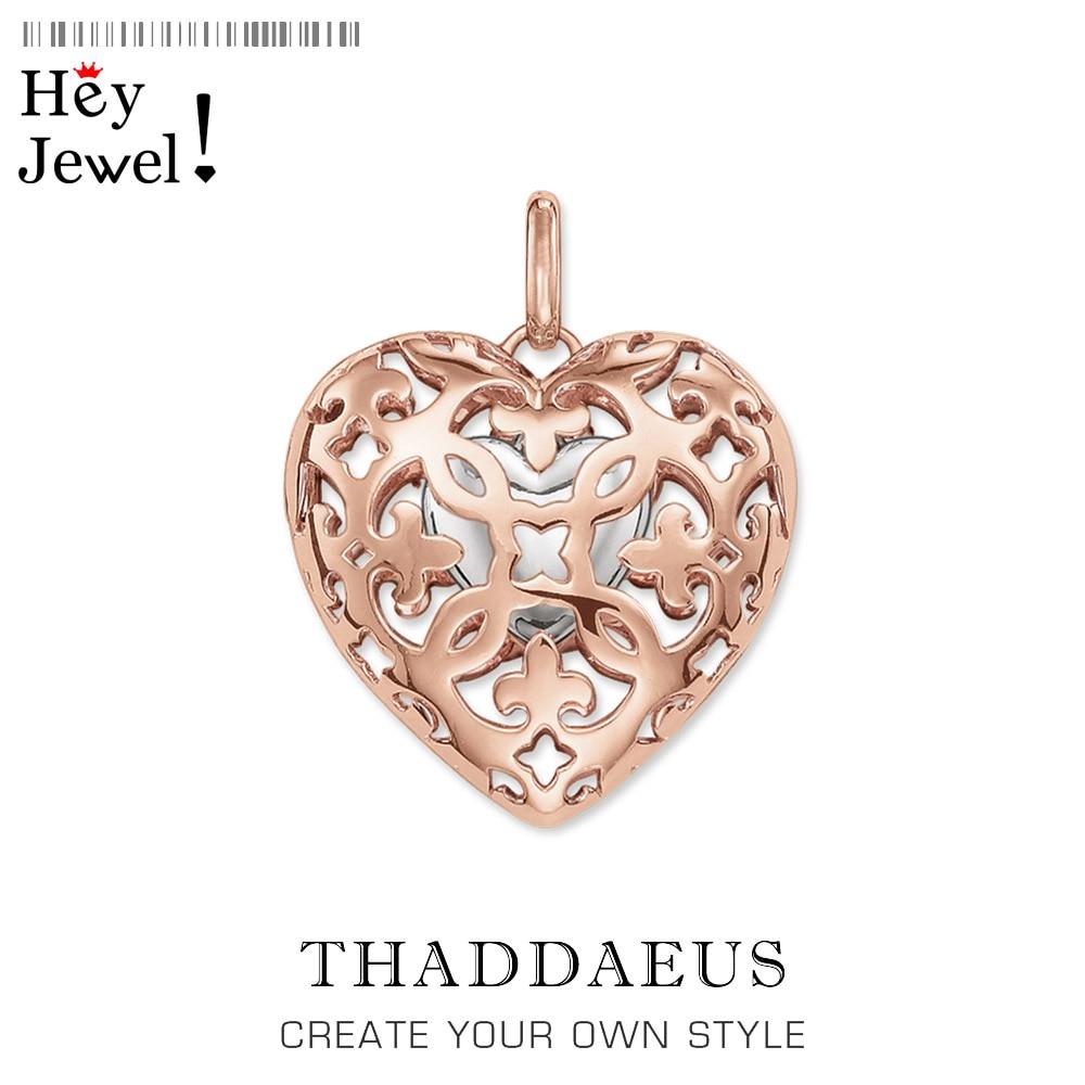 Medallón de corazón colgante, 2019 marca de Plata de Ley 925 Glam, joyería de Color oro rosa, accesorios Thomas Bijoux, regalo para mujer Ts