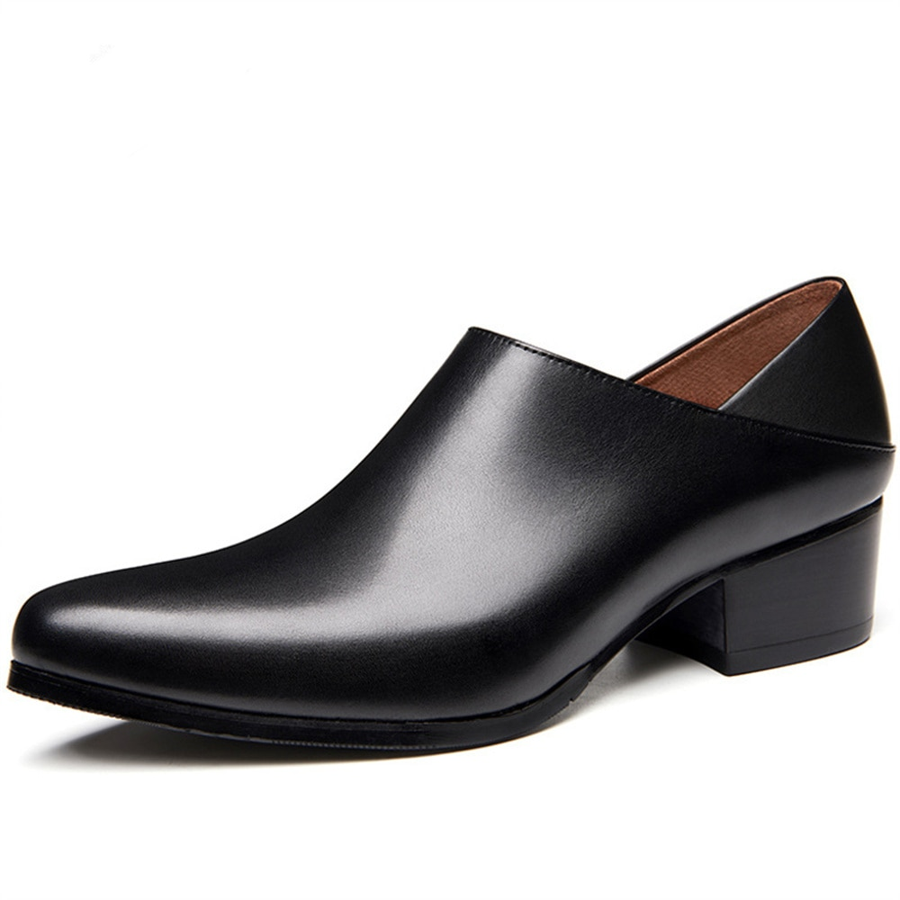 Men Shoes Leather Black Slip on Business Work Oxford Pointed Toe High Heels Causal Dress Shoes