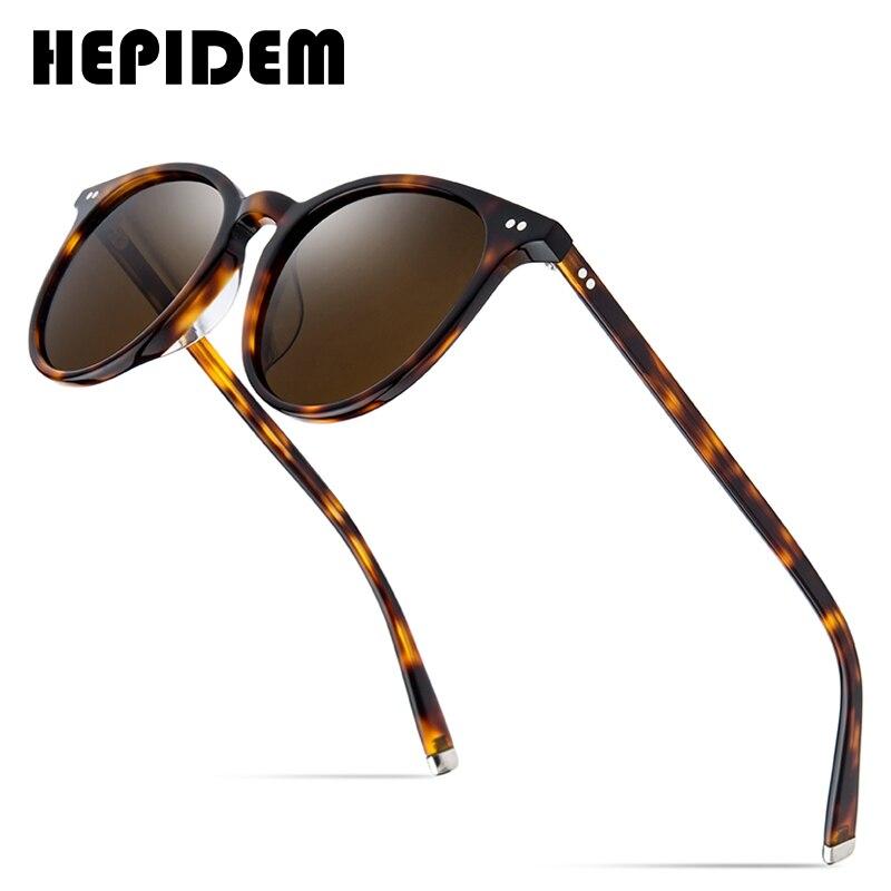 HEPIDEM خلات الاستقطاب النظارات الشمسية الكلاسيكية العلامة التجارية مصمم غريغوري بيك Vintage الرجال نظارات شمسية مستديرة للنساء UV400 9122