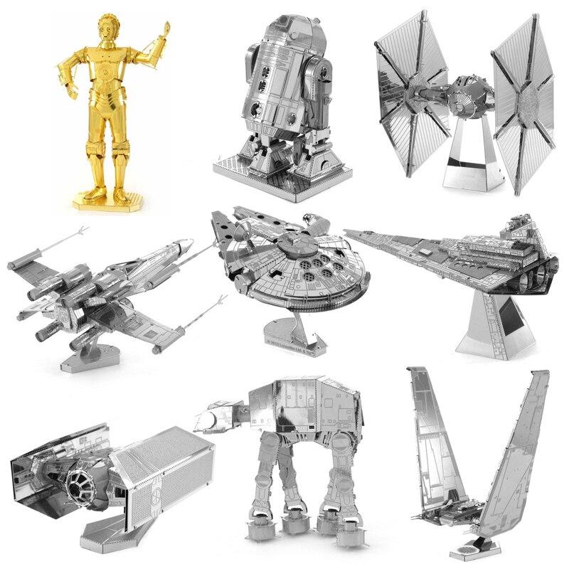 3D Puzzle Metal R2D2 X-lutador asa de Star wars ATAT Milênio Modelo DIY kits 3D Montar Quebra-cabeças de Corte A Laser brinquedos PRESENTE para as crianças