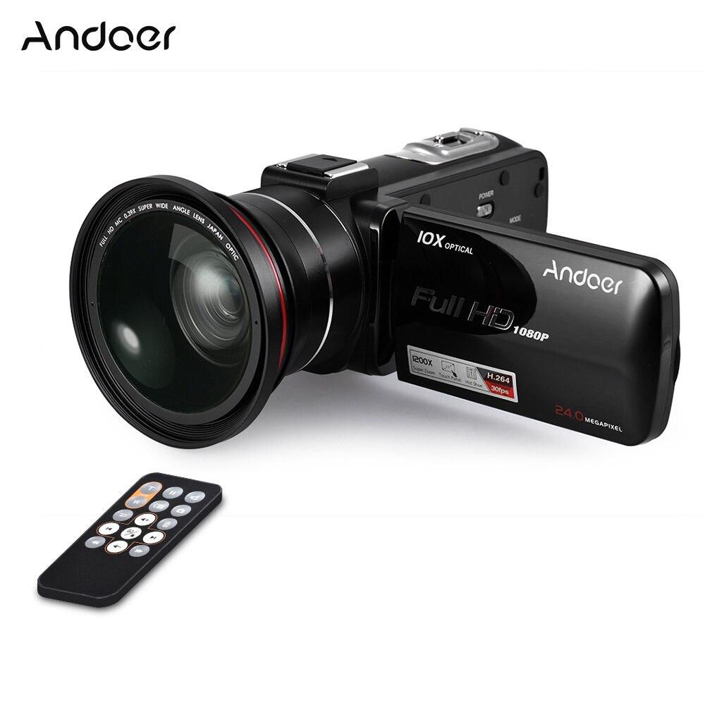 Cámara de vídeo con pantalla táctil LCD Andoer HDV-Z82 de 3 pulgadas 1080P 24MP Control remoto de la videocámara Digital con lente gran angular/micrófono