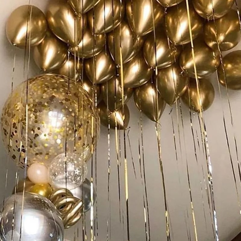 12pcs Golden Metallic Glossy Balloons Confetti Latex Balloons Birthday Party Decorations Kids Adult Globos Easter Party Supplies