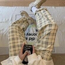 Popular Brand Plus Velvet Plaid Pants Men Korean-style Winter Trendy All-Matching Straight Loose Wid