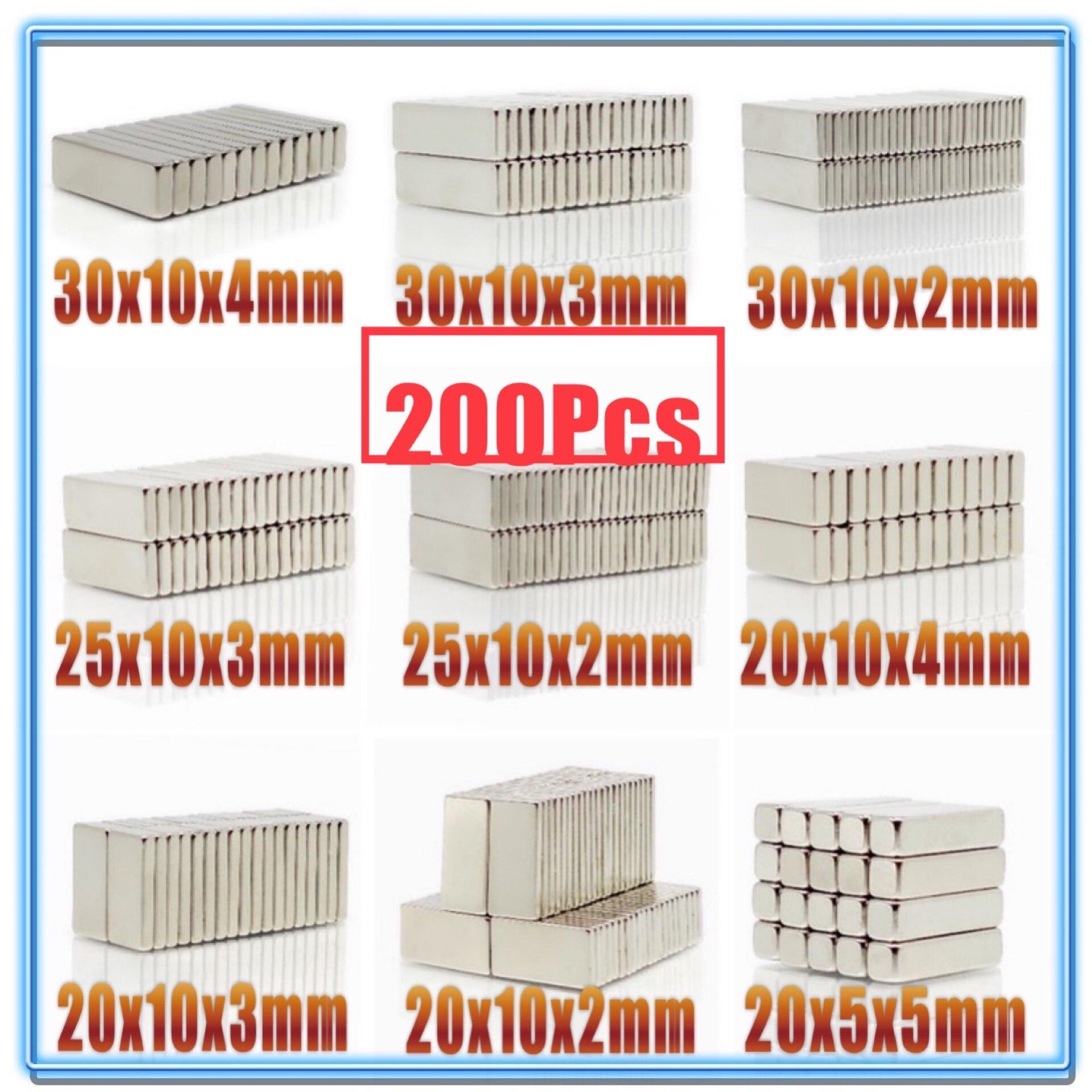 Bloc magnétique néodyme N35 200 pièces   20X10X2 20X10X2 20X10X3 20X10X4 20X10X5 25X10X3 30X10X2 30x10x4 20xx2mm