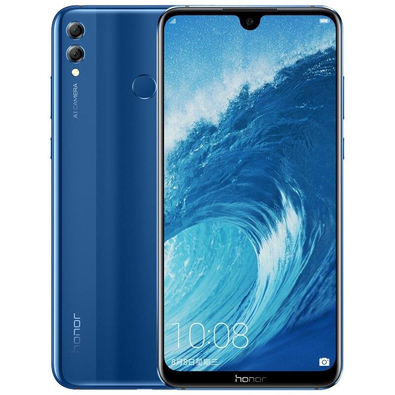 Мобильный телефон Honor 8X, 6,5 дюйма, 4 Гб + 64 ГБ, Android 8,1, Восьмиядерный экран 20 МП, сканер отпечатка пальца, аккумулятор 3750 мАч