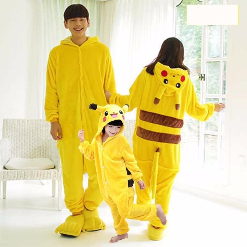 Pijama Animal adulto Pikachu Onesie mujeres hombres pareja 2019 Pijamas de invierno traje Stitch ropa de dormir Pijamas de franela
