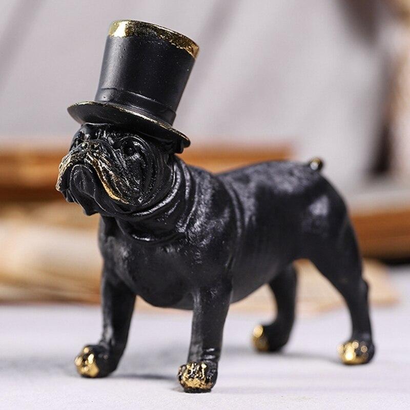 الراتنج الأسود الكلب الحرف الحلي مع قبعة الجاز محاكاة الحيوان تمثال الفن الجدول الديكور لمكتب غرفة المعيشة المنزلي