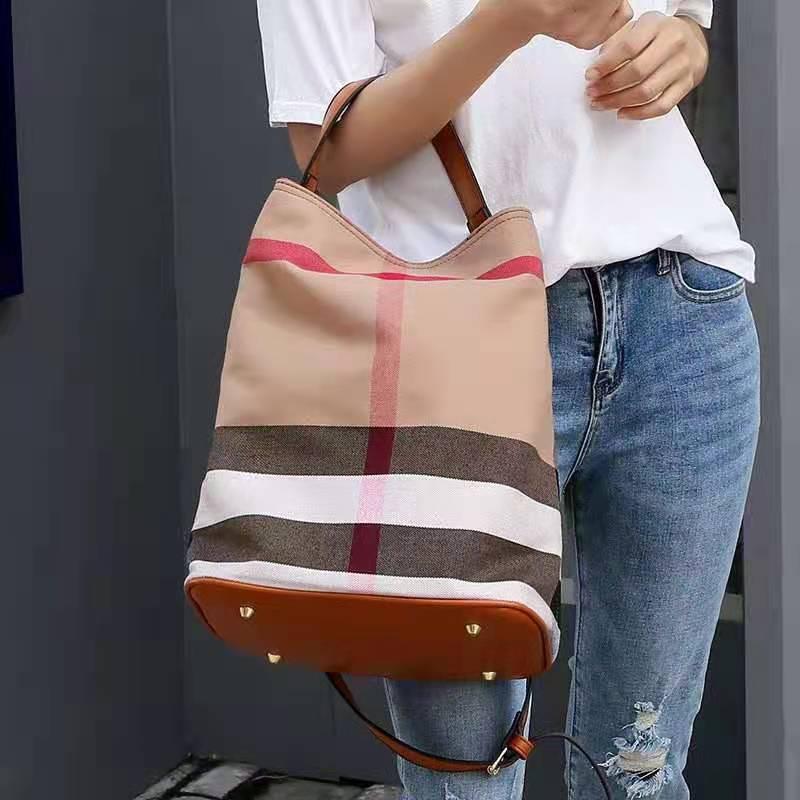 Luxury brand large capacity bag 2020 new fashion classic Plaid canvas women's bag large bucket bag portable shoulder bag