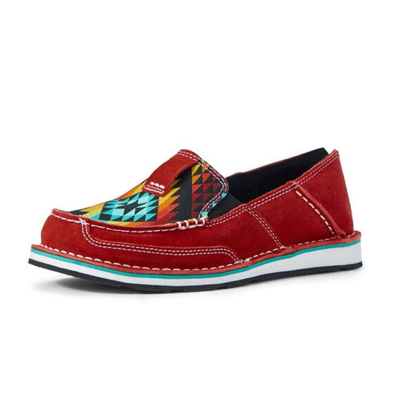 Sapatos de Couro Sapatos de Caminhada Zapatos de Mujer Mulher Retro Arco-íris Feminina Sapatos Planos Sapato Feminino Cor
