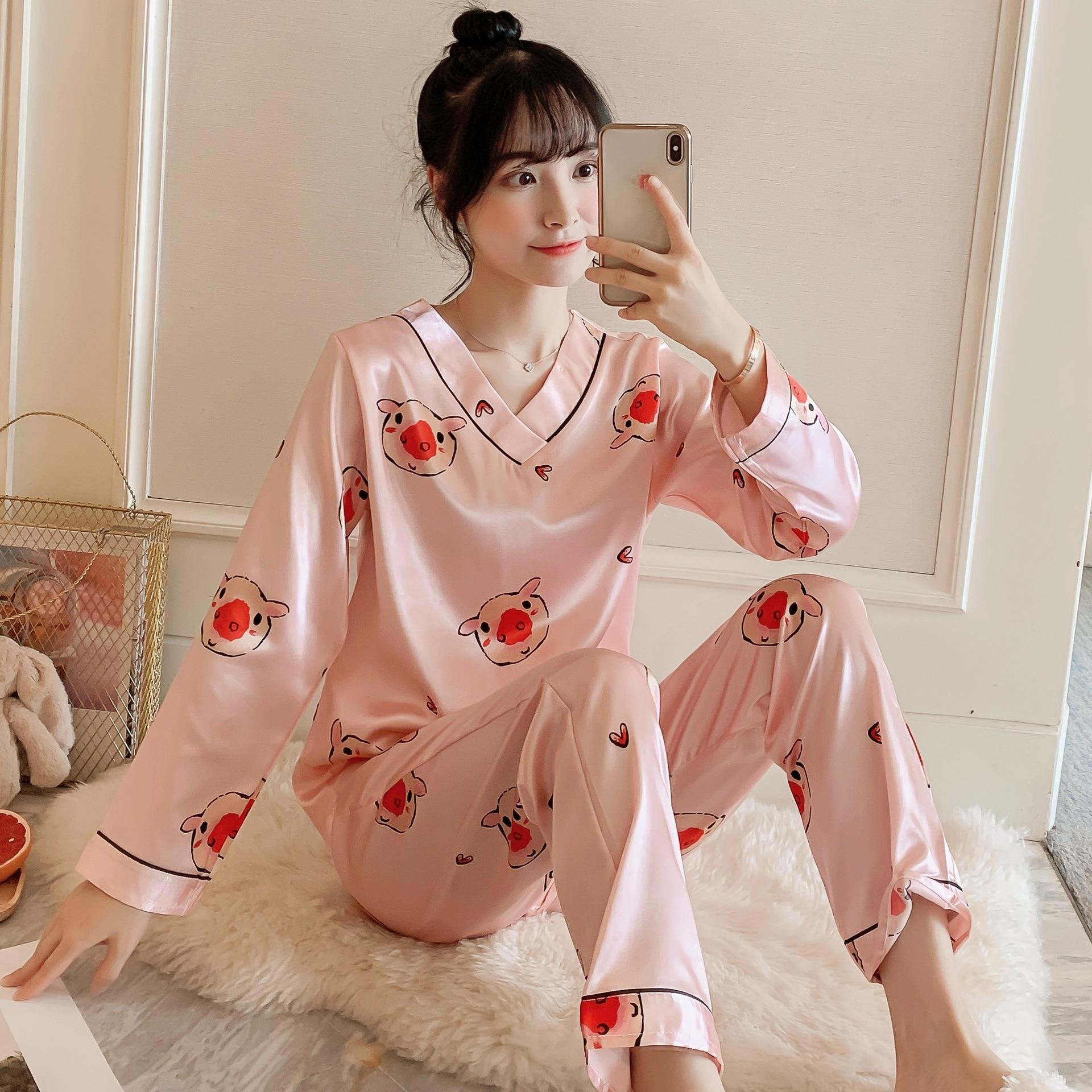Шелковые пижамные комплекты с длинным рукавом для женщин, осенняя атласная одежда для сна, пижамный комплект, ночная рубашка, женский домаш...