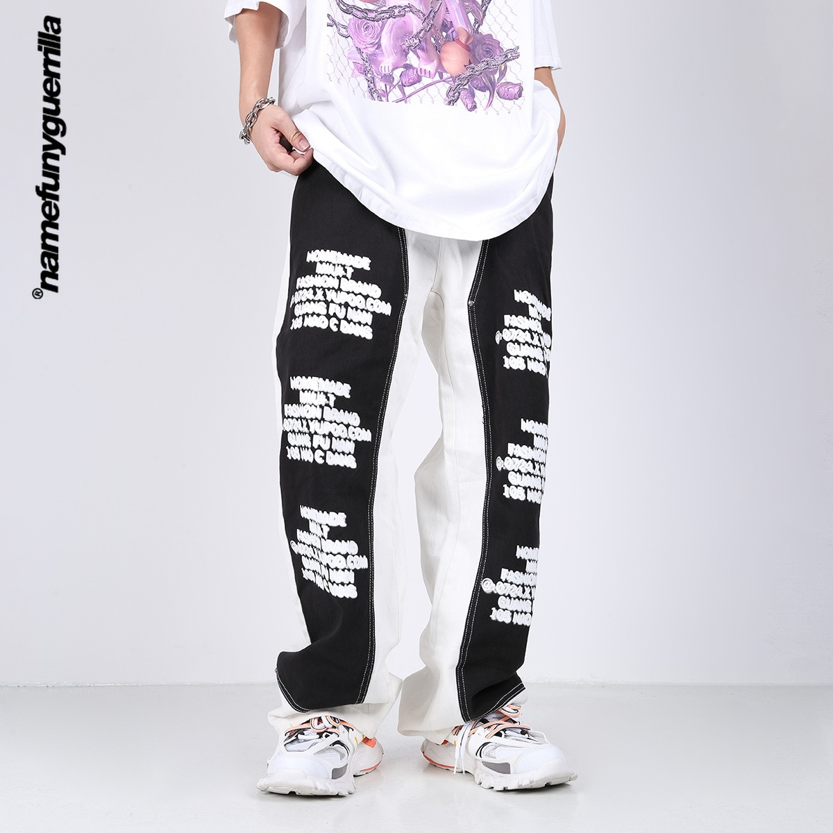 Черно-белые прямые джинсы Namefunyguerrilla, мужские уличные джинсы большого размера в стиле панк, хип-хоп, повседневные брюки 21260-1