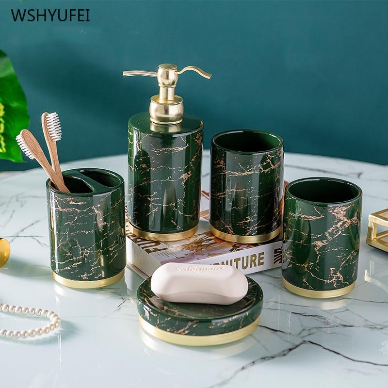 Light luxury Bathroom accessories set ceramic Five-piece set Couple mouthwash cup Toothbrush holder Lotion bottle wash Suit