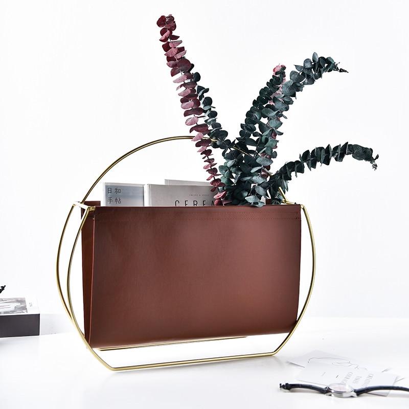 Nordic Metal Leather Magazine Rack Books Storage Decorative Ornament Creative Home Decoration Accessories