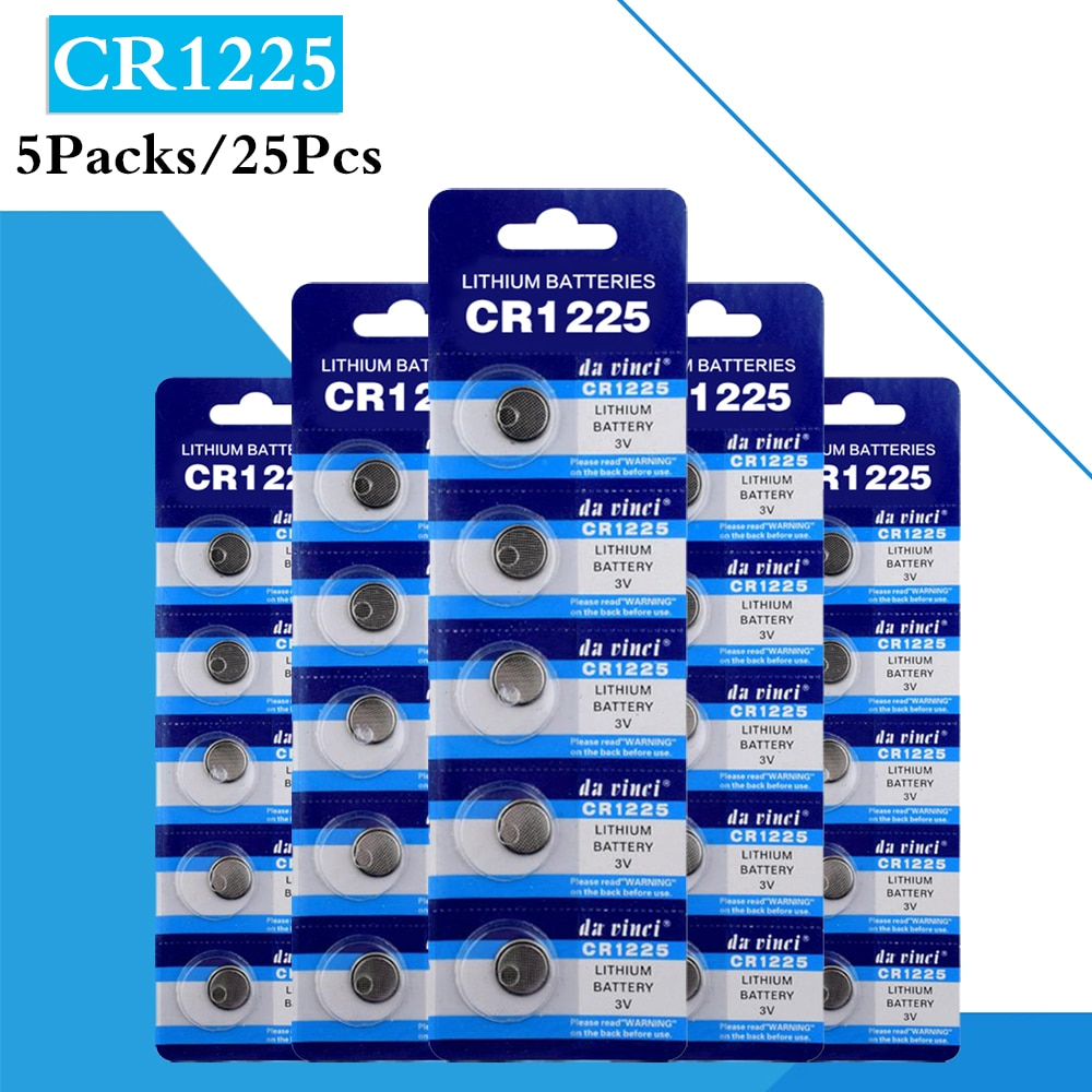 25PCS/ 5 Pack CR1225 Button Batteries LM1225 BR1225 KCR1225 Cell Coin Lithium Battery 3V CR 1225 For Watch Electronic Toy Remote