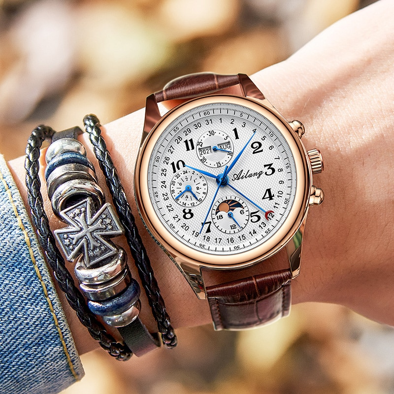 The new Ailang top luxury brand men's mechanical watch moon phase multi-function watch waterproof men's business style watch