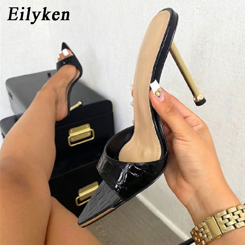 Eilyken Women slippers Snake Print Strappy Mule high heels Slippers Sandals flip flops Pointed toe Slides Party shoes Woman stylish women s slippers with pointed toe and solid colour design